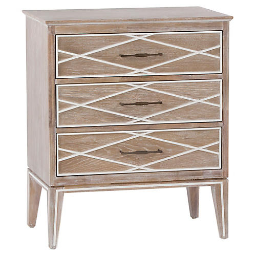 Tess Nightstand, White/Porcelain White