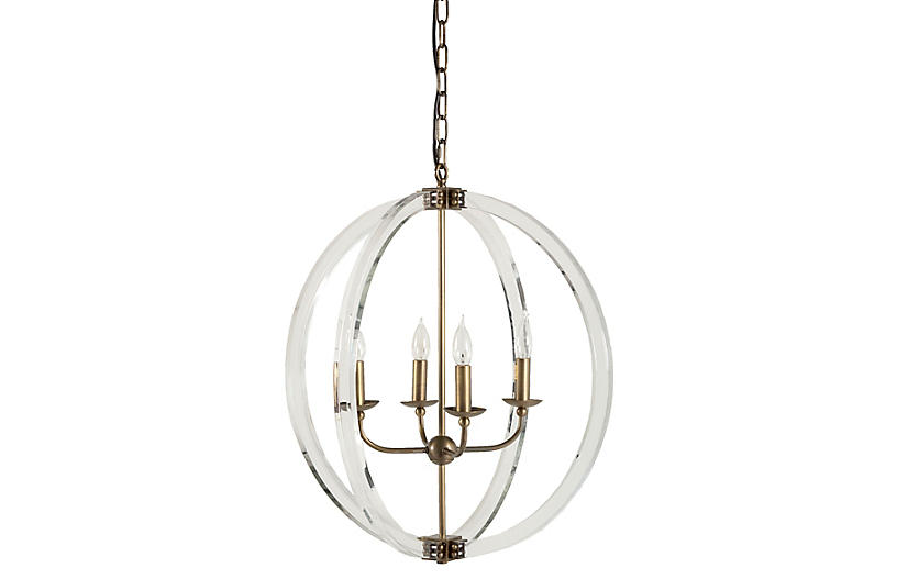 Grayson Pendant, Clear/Antiqued Brass