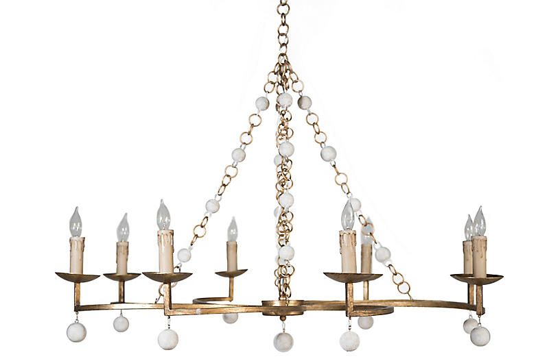 Carrie Chandelier, Antiqued Gold/White