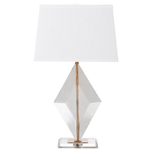 Noelle Table Lamp, Clear/Gold
