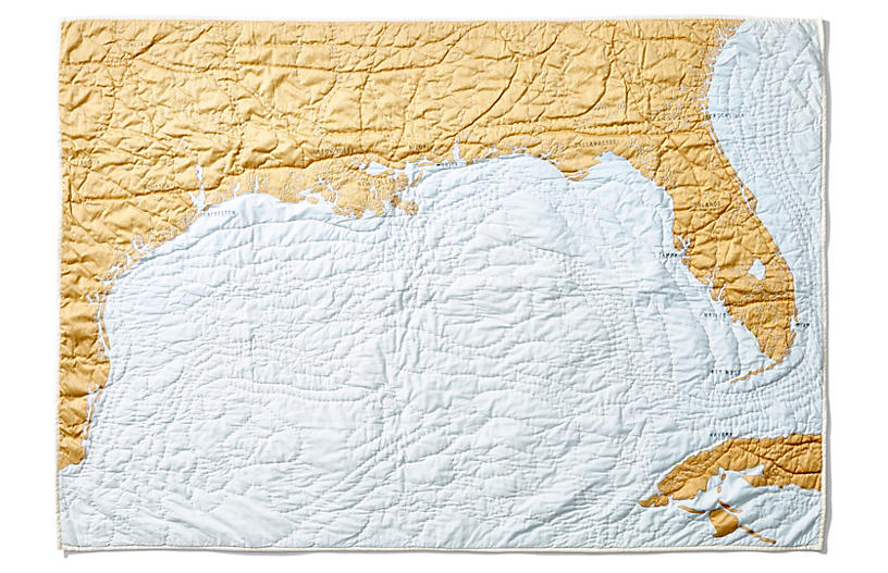 Gulf Coast Quilt, Pale Blue/Gold