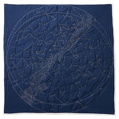 Constellation Quilt, Navy Blue