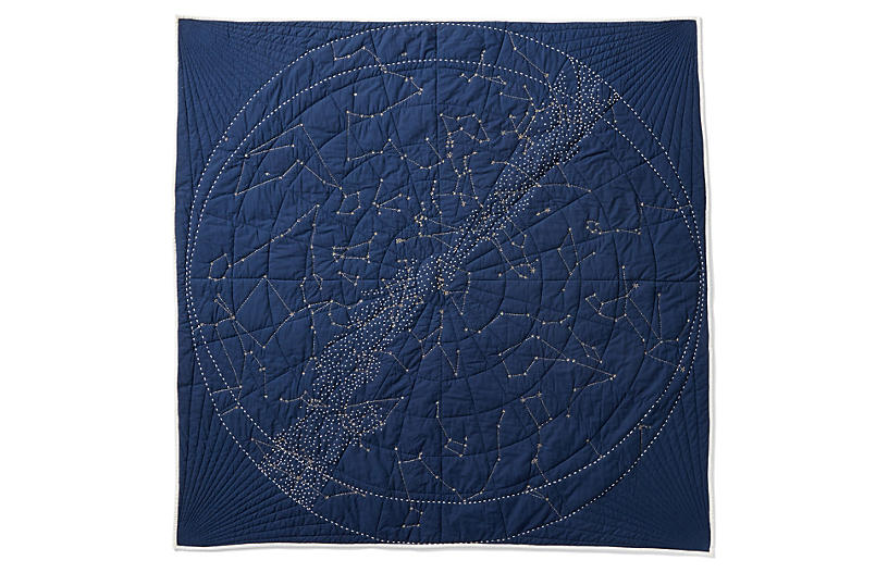 Constellation Quilt, Navy Blue