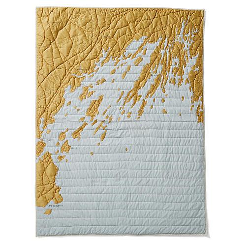 Casco Bay Cotton Quilt, Pale Blue/Gold