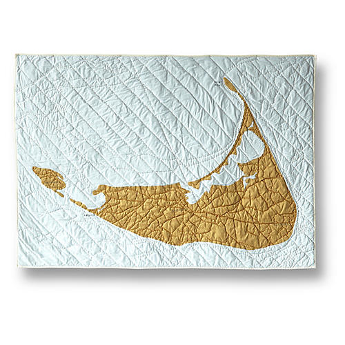 Nantucket Cotton Quilt, Pale Blue/Gold