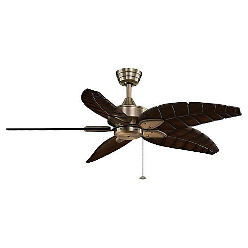 Windpointe Ceiling Fan, Antiqued Brass
