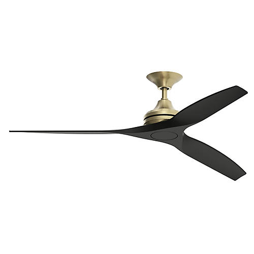 Spitfire Ceiling Fan, Satin Brass/Black