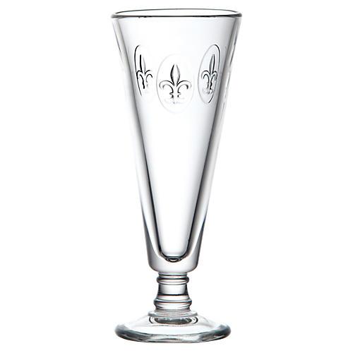 S/6 Fleur-de-Lis Champagne Flutes, Clear