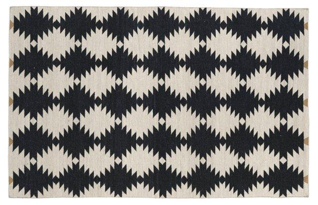 Elsa Flat-Weave Rug, Black