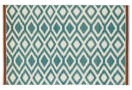 Livvy Flat-Weave Rug, Turquoise