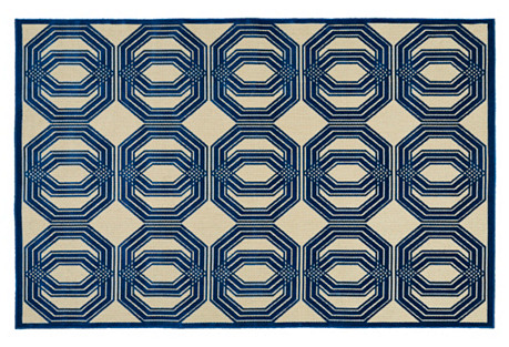 Burel Outdoor Rug, Navy