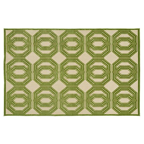 """2'1""""x4' Caine Outdoor Rug, Green"""