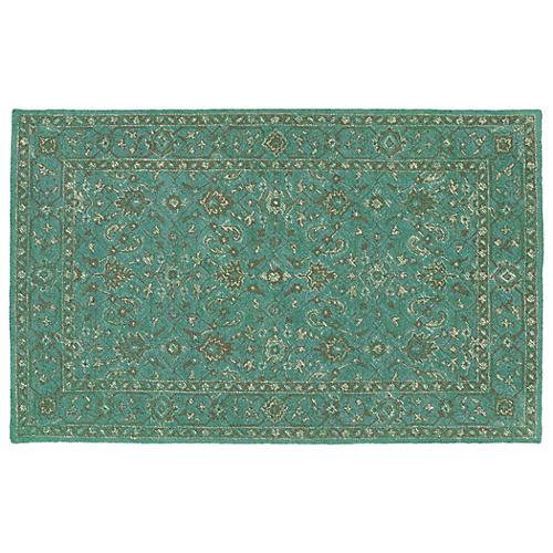 Hambleton Outdoor Rug, Linen/Turquoise