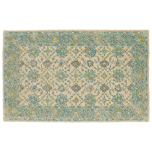 Cowley Outdoor Rug, Linen/Teal