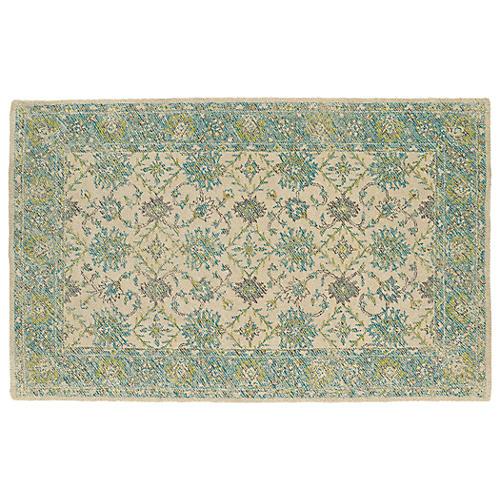 Cowley Outdoor Rug, Linen/Teal