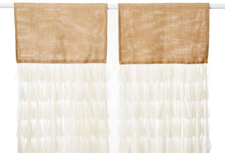 Set of 2 Chichi Petal Curtains, Ivory