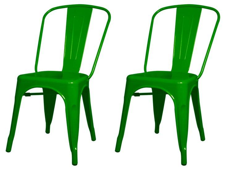 S/4 Metropolis Metal Side Chair, Green