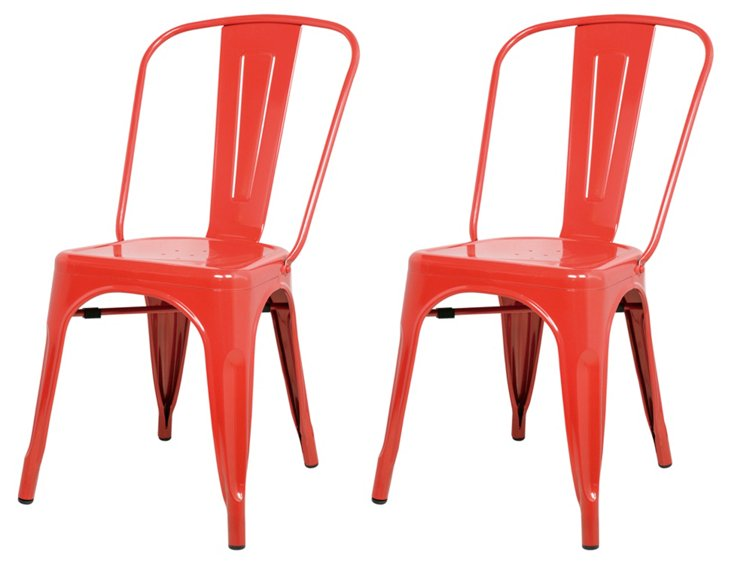 S/4 Metropolis Metal Side Chair, Red