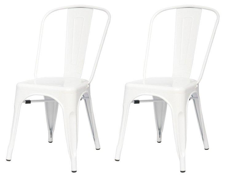 S/4 Metropolis Metal Side Chair, White
