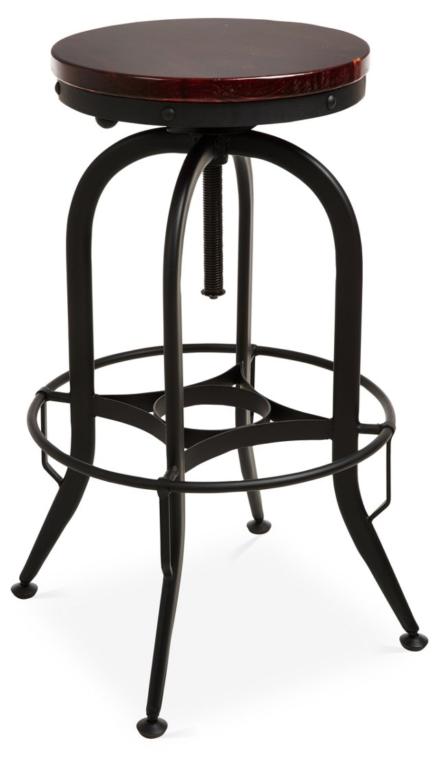 Adjustable Industrial Barstool, Black
