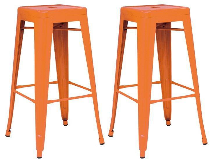 Orange Metropolis Barstools, Pair