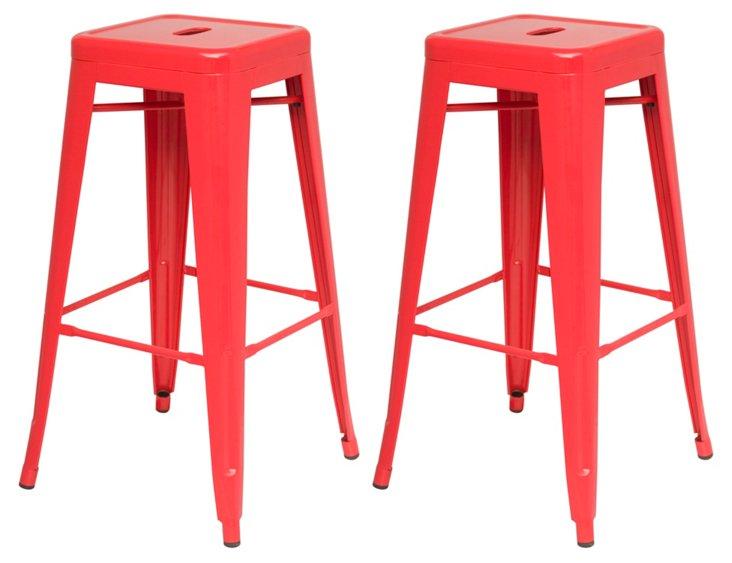 Red Metropolis Barstools, Pair