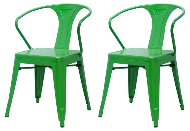 Green Metropolis Armchairs, Pair