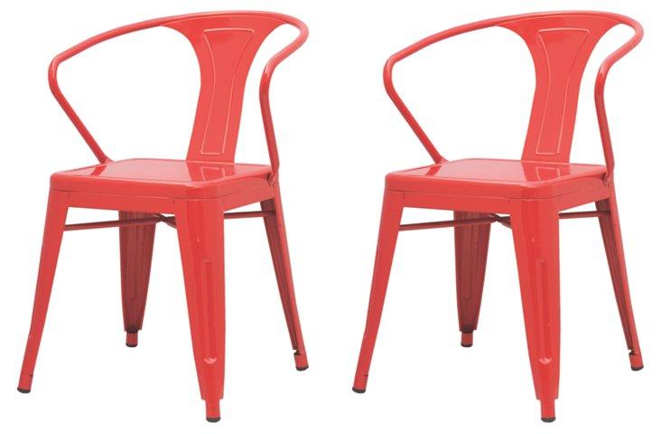 Red Metropolis Armchairs, Pair