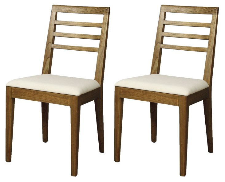 Natural Pencey Dining Chairs, Pair