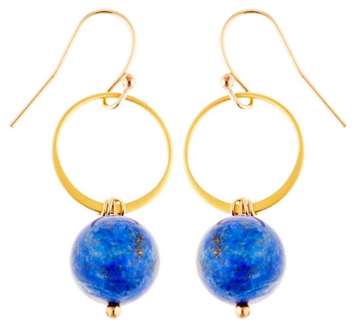 Lapis Circle Earrings
