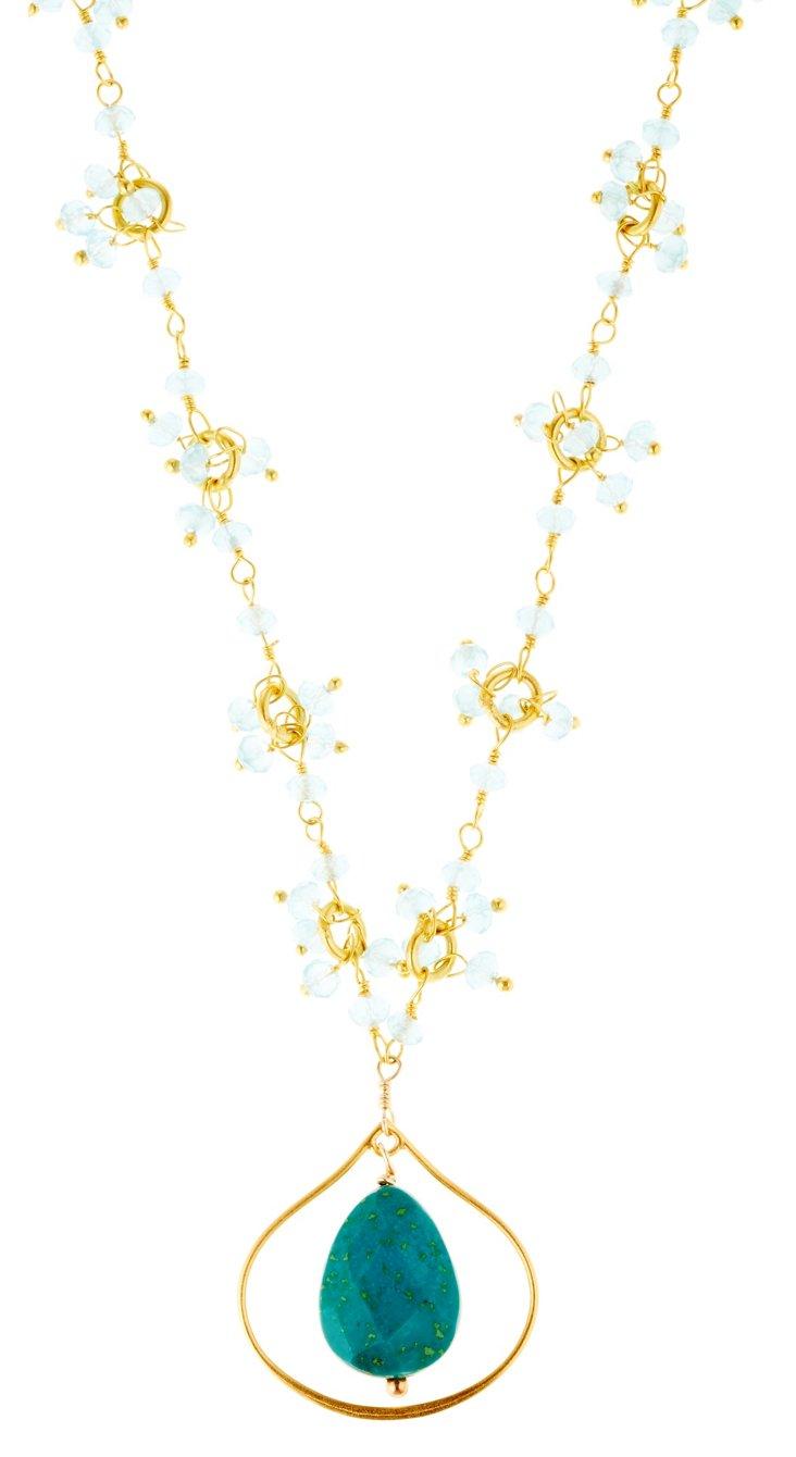Aqua Lotus Petal Necklace