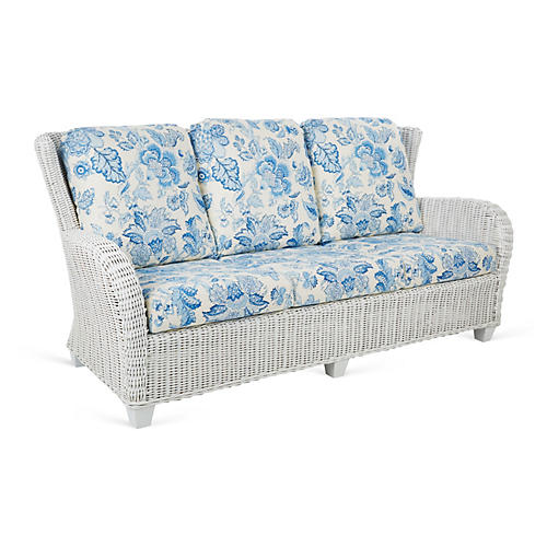 "Francisco 74"" Sofa, White/Blue"