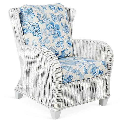Francisco Armchair, White/Blue
