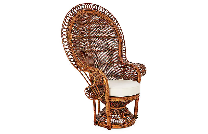 Peacock Accent Chair, Natural