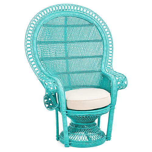 Peacock Accent Chair, Turquoise