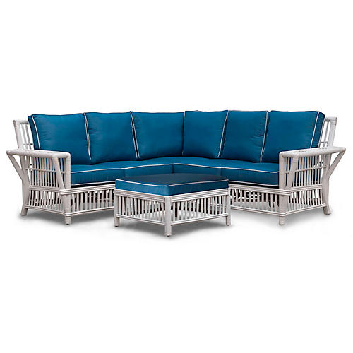Williamsburg 4-Piece Sectional, Blue