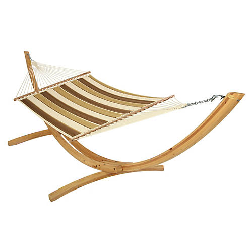 Rosie Quilted Hammock, Brown/Tan Stripe