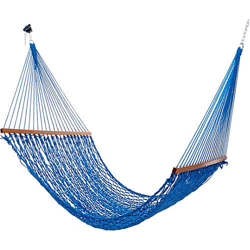 Blue All Weather Rope Hammock, Large