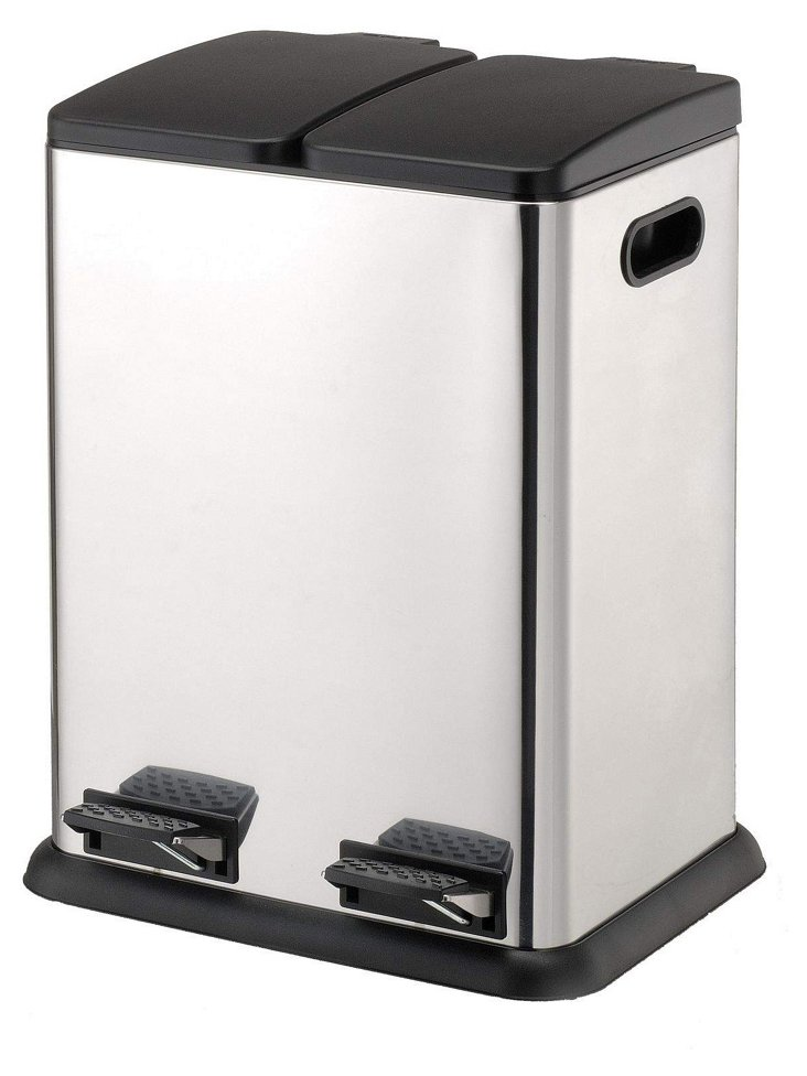 2-Compartment Square Step Recycling Bin