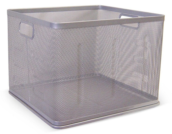 Silver Mesh Stackable Square Basket