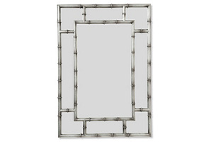 Bamboo Crackle Wall Mirror, Silver