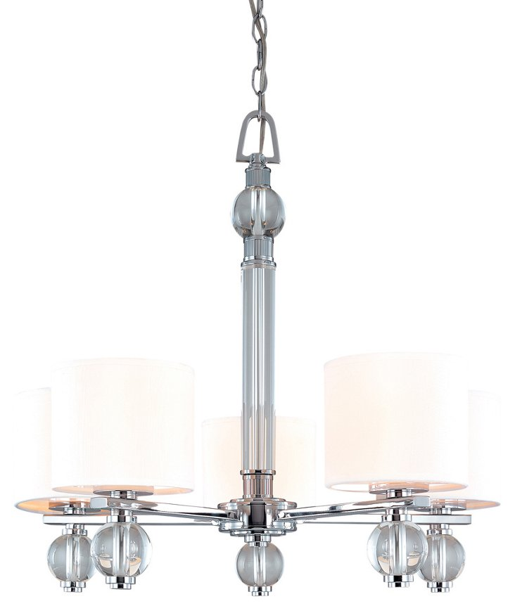 Bentley 5-Light Chandelier, Chrome