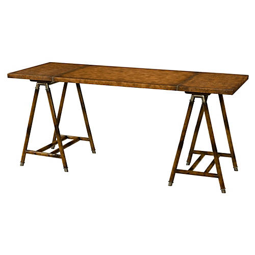 """Vicereine 68"""" Leather Writing Desk"""