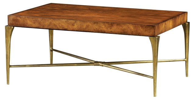 """Club 45"""" Cocktail Table, Gold/Russet"""