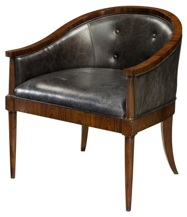 Rosewood Leather Chair, Black