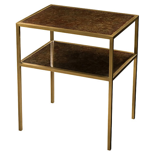 Golden 2-Tier Side Table, Gold/Chocolate
