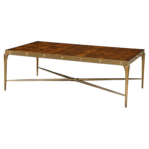 """Oyster Bolt 61"""" Cocktail Table, Gold"""