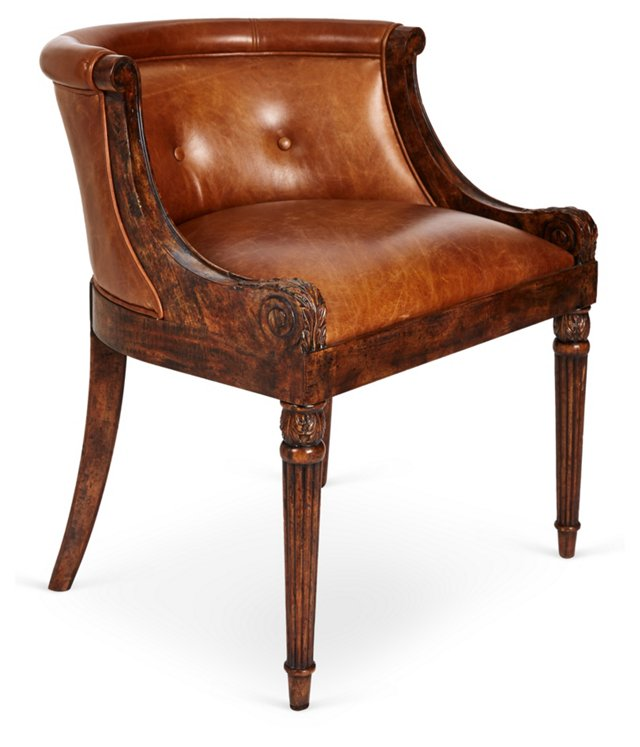 Elmore Leather Accent Chair, Latte