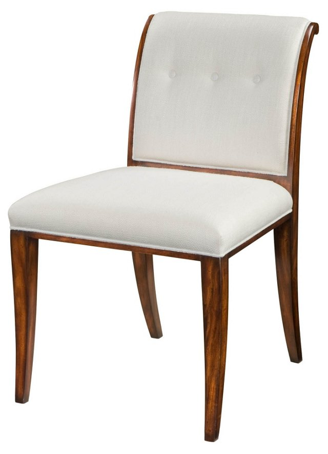 Snappy Button-Tufted Side Chair, White