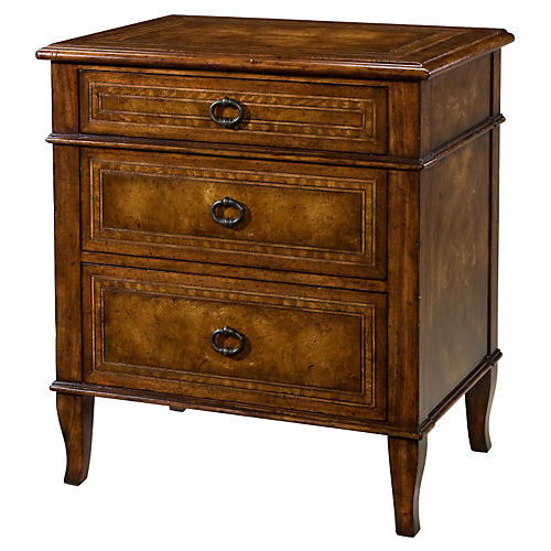 "Brooksby 27"" 3-Drawer Nightstand, Brown"